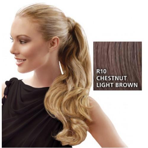 Hairdo by HairUwear - Kodrasti čop Wrap around pony - R10 chestnut light brown 57 cm