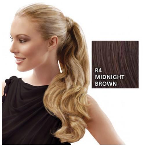 Hairdo by HairUwear - Kodrasti čop Wrap around pony - R4 midnight brown 57 cm